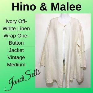 Hino & Malee Med Ivory Off-White Linen Wrap Jacket